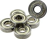 Create idea - Lote de 10 rodamientos ABEC 5 608ZZ para patinete o skate de alto rendimiento