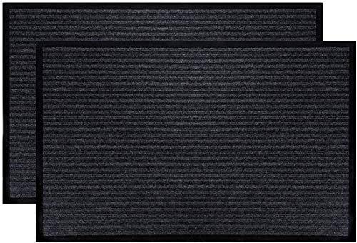 """Fasmov 2 Pack Indoor Outdoor Entrance Rug Floor Mats Shoe Scraper Doormat,20""""x31.5""""(Gray)"""