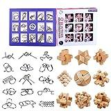 ALLESOK 24Pack Rompecabezas Metal Puzzles 3D Madcera Juegos de Ingenio Calendario de Adviento para Niños y Adultos