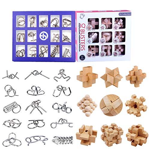 15000P 24Pack Rompecabezas Metal Puzzles 3D Madcera Juegos de Ingenio Calendario de Adviento para Niños y Adultos