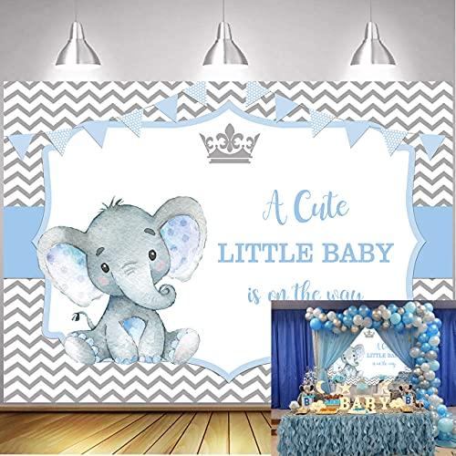 WDA Fondo de tema de elefante para bebé, telón de fondo para fotografía de fiesta de bebé, decoración de rayas, banner de postre suministros de mesa de estudio (7x5FT)