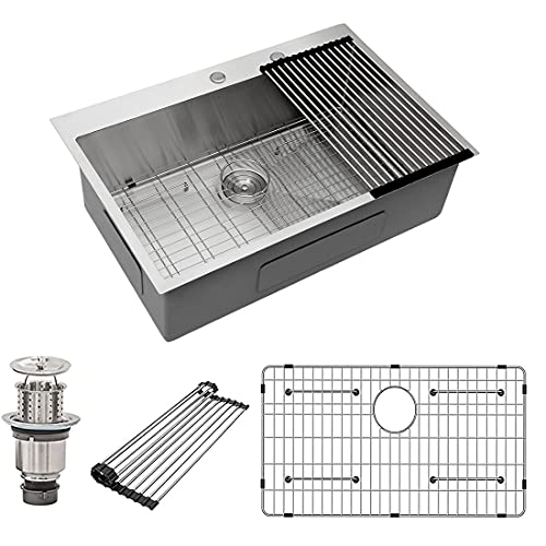 """33 Inch Drop-in Kitchen Sink - Stainless Steel Kitchen Sink 33"""" drop in 16 Gauge Stainless Steel Topmount Kitchen Sink 33 with 10"""