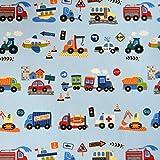 MAGAM-Stoffe Bunte Autos hellblau Baumwollstoff Kinderstoff