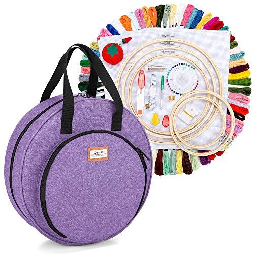 CURMIO Kit de inicio de bordado, kit de herramientas de punto de cruz con bolsa de almacenamiento, kit de bordado para adultos y niños principiantes, bricolaje, hogar y viajes, Púrpura