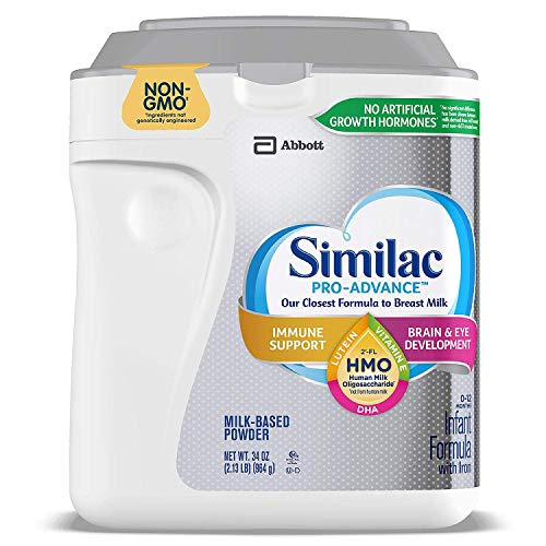 Similac Pro Advance Non-GMO Powder Infant Formula with Iron with 2'-FL HMO for Immune Support 34 oz. Plus Free Bonus 1 Pack of Disposable Baby Bibs and 1 Baby Washcloth.