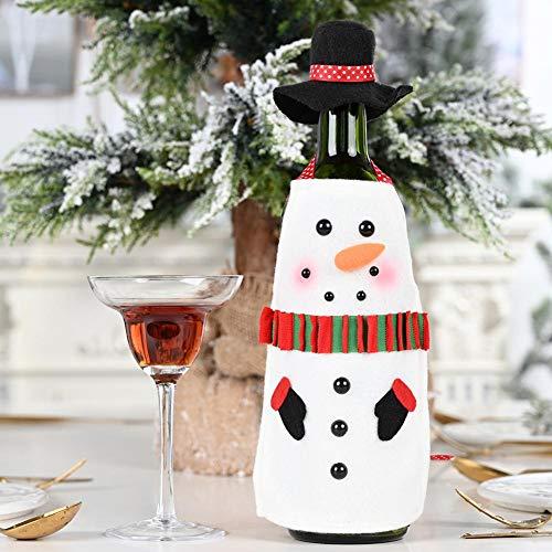 Rethyrel - Suéter para botella de vino de Navidad, hecho a mano, para champán, vino, ropa de desgaste, tela de resistencia, funda para botella de vino para bienvenida navideña