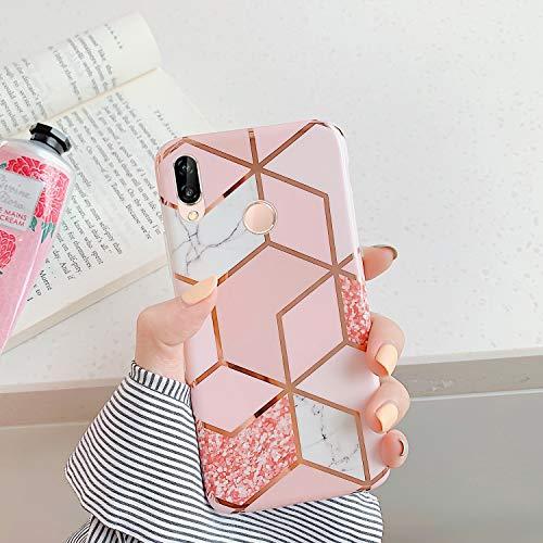 QPOLLY Compatible avec Huawei P20 Lite Coque, Brillante Glitter Paillettes Marbre Design Motif Ultra Mince Souple TPU Silicone Gel Bumper Housse Etui de Protection Anti-Choc Coque,Rose-2