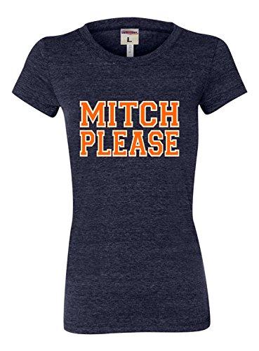 Medium Navy Blue Womens Mitch Please Tri-Blend T-Shirt