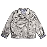 Disney Frozen 2 Girl's Metallic Motorcycle Jacket Made with Vegan leather, zipper closure with Frozen snowflake satin poly lining Available in girl's sizes small (6/7/), medium (8), large (10/12), and XL (14/16) Makes a perfect gift for fans of the D...