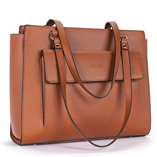 FIGESTIN Women Faux Leather Handbags Designer 14 inch Laptop Bag Ladies Purses and Top Handle Shoulder Bags Brown