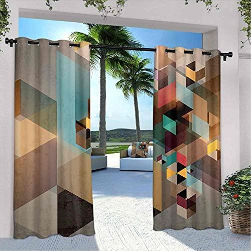 Cortinas abstractas impermeables gazebo, estructura colorida en piezas moderno diseño gráfico dinámico industrial artístico, para granja cabaña gazebo pasillo terraza, W96 x L108 pulgadas multicolor