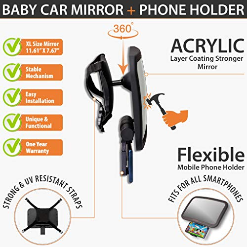 Bambiko Baby Car Mirror with Phone Holder set pack XLARGE size, Rear Wide View, Safety Monitor for Fixed Headrest Backseat, Stable Infant interior mirror Compatible For all SmartPhones,360° Adjustable