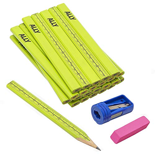 ALLY Tools 24 PC Neon Green Carpenter Pencil Kit with Printed Metric/Inch Ruler INCLUDES Sharpener and Pink Eraser Ideal For Precision Marking on Wood, Stone, and Concrete