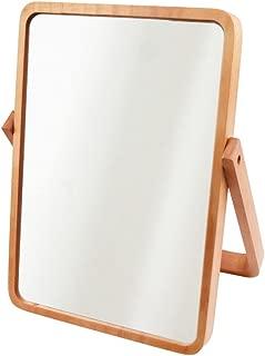 AlierKin Tabletop Vanity Makeup Mirror, Rectangle, Pine Wood