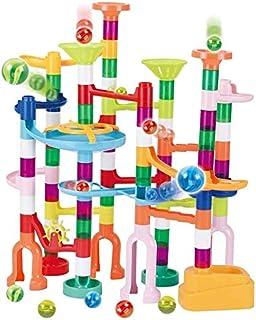 JOYIN 120Pcs Marble Run Toy Set, Construction Building Blocks Toys for STEM Education (75 Plastic Pieces + 45 Glass Marbles)