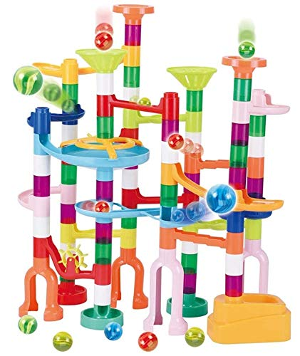 JOYIN 120Pcs Marble Run Toy Set, Construction Building Blocks Toys for STEM Education (75 Plastic Pieces + 45 Glass Marbles)