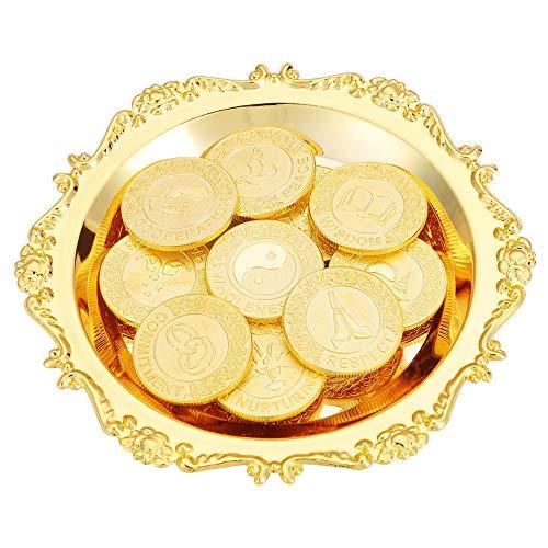English Gold 13 Coins for Wedding Ceremony Arras de Boda Unity Coin Set with Tray Plate Filipino Wedding Aras Gift