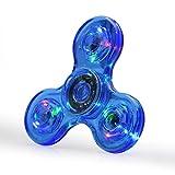 FIGROL LED Light Fidget Spinner,Rainbow Fidget Toy Light Finger Hand Spinner for Kids Adults(Blue Crystal)