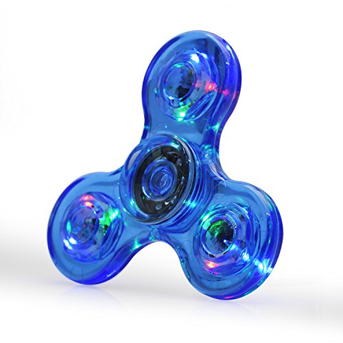 FIGROL LED Light Fidget Spinner,Rainbow Fidget Toy Light Finger Hand Spinner for Kids Adults(Blue Crystal)