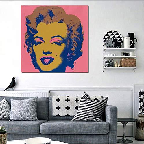 Zahuishile Andies Warholer Marilyn Monroe Wandkunst Leinwand Poster Drucke Malerei Öl Wandbilder Für Badezimmer Schlafzimmer Wohnkultur 40X60 cm Ohne Rahmen