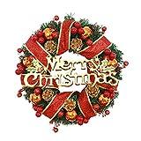 30 CM Papá Noel Colgante Coronas Navideñas de Puerta de Entrada Artificiales con Bolas de Flores y Piñas Coronas de Navidad Artificiales Deco Guirnalda de Decoración de Chimenea de Puertas de Entrada