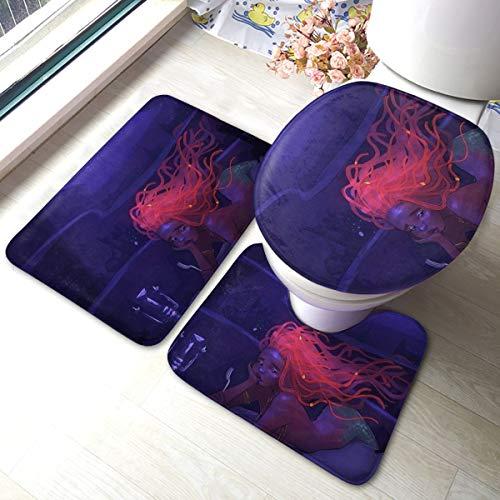 3 Stks Zachte Antislip Badmat Kit, Onderdeel van Uw Wereld Inclusief 40X60cm Hoge-absorberend Toiletbril En 40*50cm Microvezel Zacht Fluffy Badkamer Tapijt, 35cm*45cm Toilet Deksel Mat, Antislip Mat Wasbaar.