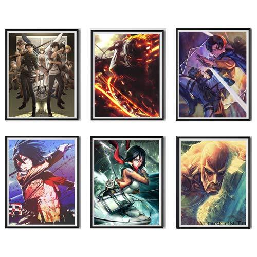 Lienzo de anime japonés Attack On Titan, arte de pared gigante de Titan Levi Mikasa, impresión artística, póster para decoración de sala de estar, 20 x 25 cm, juego de 6, sin marco