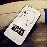 Half-Wrapped Case - Cartoon Embroidery 3D We Bare Bears Card Pocket Phone Case for iPhone X 7 6 6s 8 Plus Leather Soft Bumper Mobile Phone Case - by Keu_20-1 PCs
