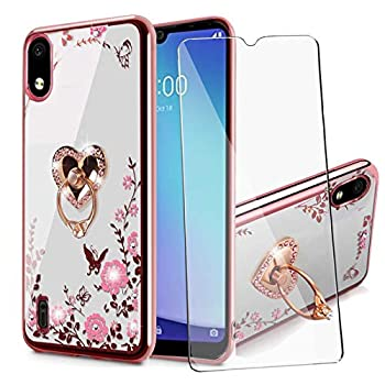 BTShare for ZTEBladeA52020 Case with Tempered Glass Screen Protector Bling Crystal Clear Soft Transparent TPU Slim Fit Kickstand Case Cover for Girls & Ring Grip Love