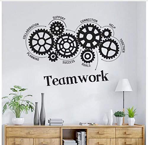 Lavoro di squadra Gears Vinile Adesivo Ufficio Spazio Inspirante Preventivo Adesivo da parete Decorazione ufficio Stile di lavoro Murales 83x57cm