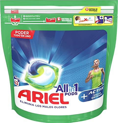 Ariel Todo En Uno Pods Defensa Activa Contra El Olor Detergente En Cápsulas 43Pods, 43Lavados, Perfecto Para Lavar A Baja Temperatura, Perfume Duradero