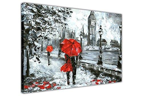 """Lienzo Enmarcado de Pared Art Prints, diseño de Pareja sosteniendo un Paraguas Rojo en Londres, Rojo, 05- A1-34"""" X 24"""" (86cm X 60cm)"""