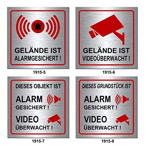 Video-Alarm-gesichert-überwacht-190 x 190 x 3 mm-Schild-Alu. Edelstahloptik silber mattgebürstet-Warnschild-Alarmschild-Videoschild-Hinweisschild (1915-7 Objekt-Alarm-Video ohne Löcher)