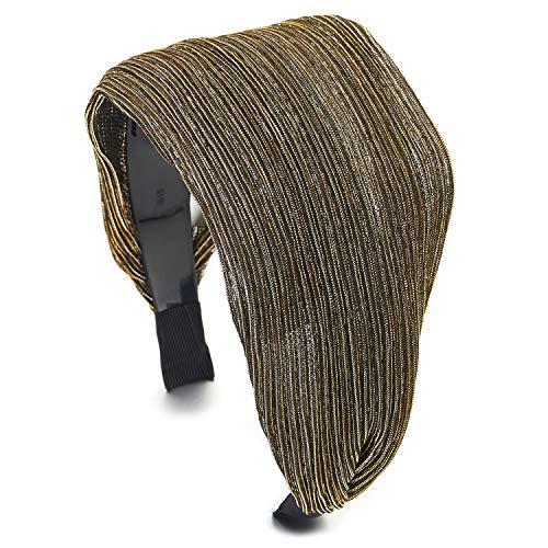 COOLSTEELANDBEYOND Elegante Breiten Breitseite Silber Gold Schwarz Glänzend Stripes Spitze Haarreif Haarkranz Stirnband Kopfband Haarband