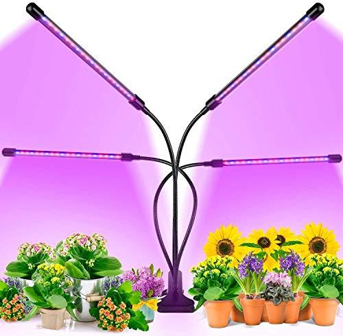 Lámpara de Planta,Lámpara LED Cultivo de 4 Cabezales de Espectro Completo con 80 LED,Luz para Plantas de 9 Niveles Regulable y 360°Ajuste con Función de Temporizador,para Jardinería Bonsai