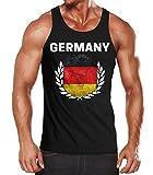 MoonWorks EM WM Tanktop Fanshirt Herren Fußball Deutschland Flagge Vintage Germany Muskelshirt schwarz XXL