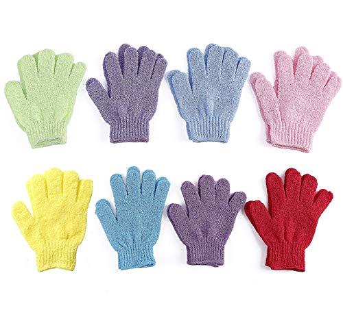 DELIBEST Lot de 8 paires de gants exfoliants double face pour la douche