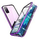 Hülle für Samsung Galaxy S20 FE Hülle Magnetische Handyhülle 360-Grad-Schutz Starke Magneten Aluminium Rahmen Gehärtetes Glas Stoßfest Metall Flip Cover, Lila