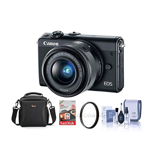Canon EOS M100 Mirrorless Camera with EF-M 15-45mm f/3.5-6.3 is STM Lens, Black - Bundle with 16GB SDHC Card, Camera Case, 49mm UV Filter, Cleaning Kit