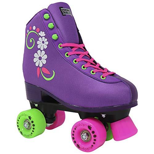 Lenexa uGOgrl Roller Skates for Ladies - Quad Roller Skate - Indoor, Outdoor, Skate - Great Skates for Beginners - Purple (Men 6 / Women 8)