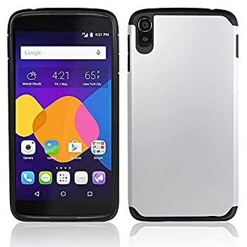 Telegaming Alcatel One Touch Idol 3  5.5   Case Heavy Duty Hybrid Rugged Impact Durable Case Protective Cover Skin + Screen Protector Stylus for Alcatel One Touch Idol 3 5.5 inch  Silver