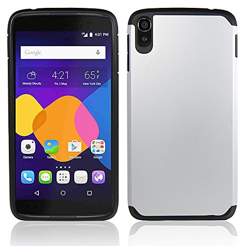 Telegaming Alcatel One Touch Idol 3 (5.5) Case, Heavy Duty Hybrid Rugged Impact Durable Case Protective Cover Skin + Screen Protector Stylus for Alcatel One Touch Idol 3 5.5 inch (Silver)