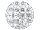 H&H Ischia Set Piatti Fondi, Stoneware, Azzurro/Grigio, 6 unità