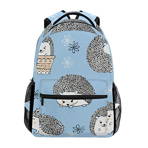 Cute Watercolor Hedgehogs Blue Fantasy Backpack School Bag Travel Daypack