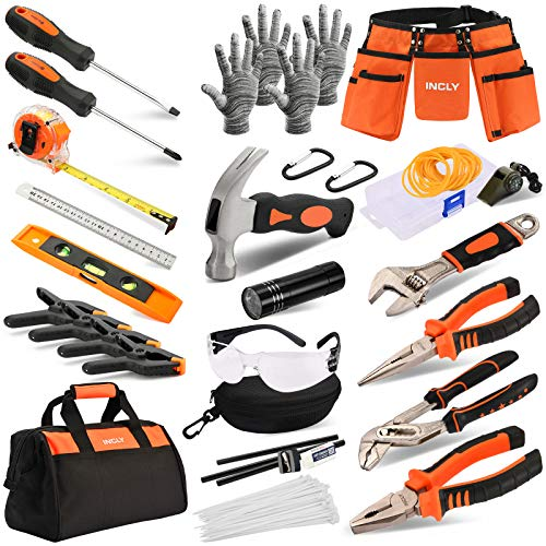 INCLY 95 PCS Kid Real Tool Set, Boy Builder Small Real Hand Tools Kit Construction Learning Accessories Hammer Screwdriver for Home DIY Woodworking Play,Come with Tool Belt & Bag