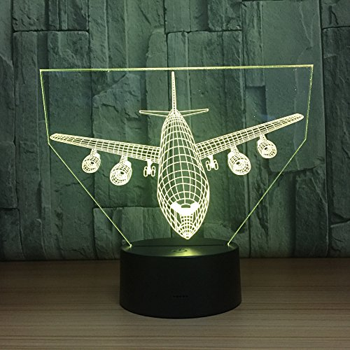 ERBEIOU Passenger Plane 3D Illusion Lamp 3D Night Light for Boys Girls Table Desk Lamp 16 Color Change Decor Lamp Gifts Birthday Festival Christmas for Teens Friends