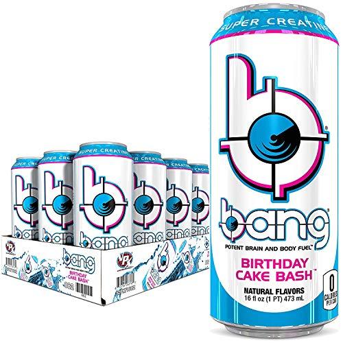 Bang Energy Drink with CoQ10 Creatine Birthday Cake Bash (12 Drinks)