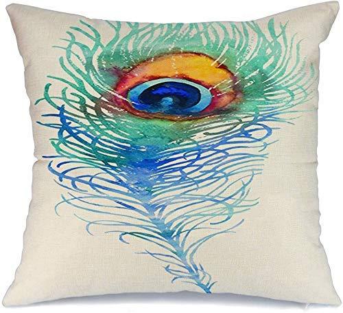 Decoración Throw Pillow Cover Funda de cojín Pintura azul Elegante Acuarela Pavo real Pluma Animales Vida silvestre Colorido Hermoso pájaro Creativo Funda de Cojine 45 X 45CM