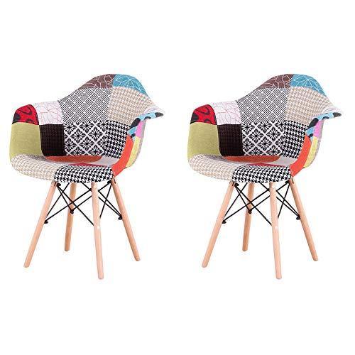 N / A GrandCA Home Pack de 2 sillas,sillas de Comedor Patchwork Tela de Lino Butaca, Silla de salón, sillas de recepción, Silla de Cocina (Rojo)