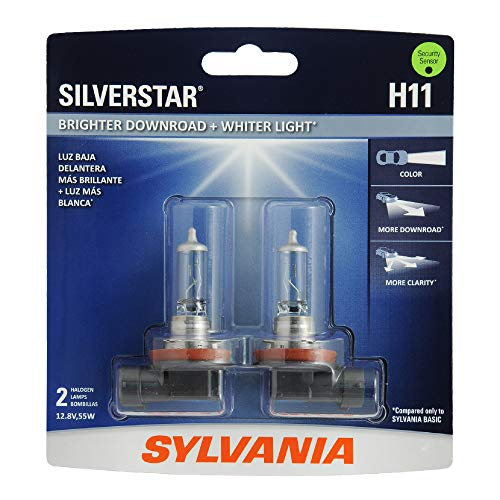 SYLVANIA H11 SilverStar High Performance Halogen Headlight Bulb, (Contains 2 Bulbs) (H11ST.BP2), White